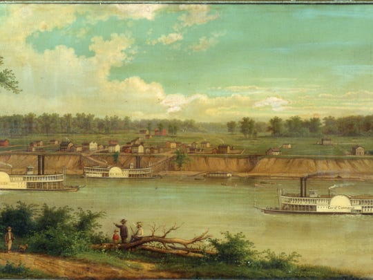 Painting of the Evansville Riverfront in 1820, courtesy of the Evansville Museum of Arts, History and Science.