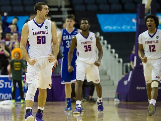 University of Evansville's Blake Simmons (50) reacts
