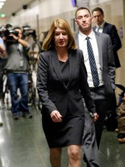 San Francisco Deputy District Attorney Diana Garcia walks to the courtroom after a verdict was reached in the trial of Jose Ines Garcia Zarate Thursday, Nov. 30, 2017, in San Francisco. Garcia Zarate was found not guilty in the killing of Kate Steinle on a San Francisco pier that touched off a national immigration debate two years ago.