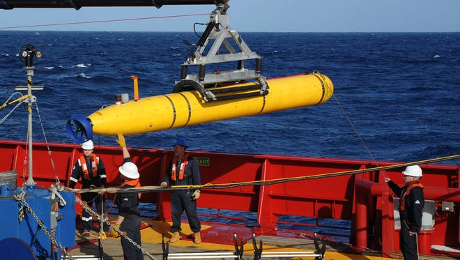 An autonomous underwater vehicle, similar to the one seen here, was missing Saturday in the Indian River near Melbourne, according to Florida Tech.