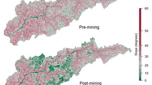 The hillside slope of West Virginia's Headwaters Twentymile Creek watershed pre- and post-mining, calculated from elevation maps. Images from http://www.minedwatersheds.com.