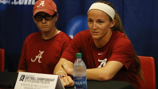 Alabama's Haylie McCleney talks at the WSB NCAA Super Regional press conference on Thursday in Tuscaloosa.