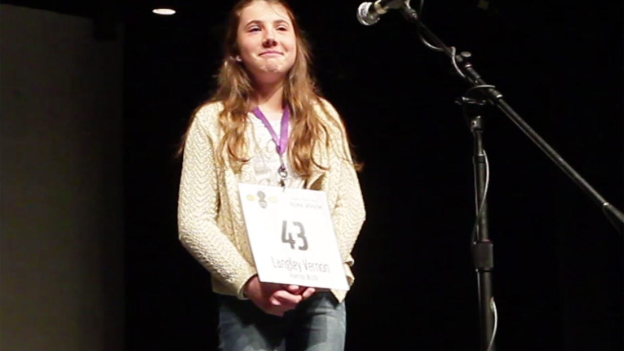 """Langley Vernon, seventh-grade student from Riverside Middle School won the Independent Mail Regional Spelling Bee with the word """"schnauzer,"""" on Saturday, March 4, 2017 at Anderson University."""