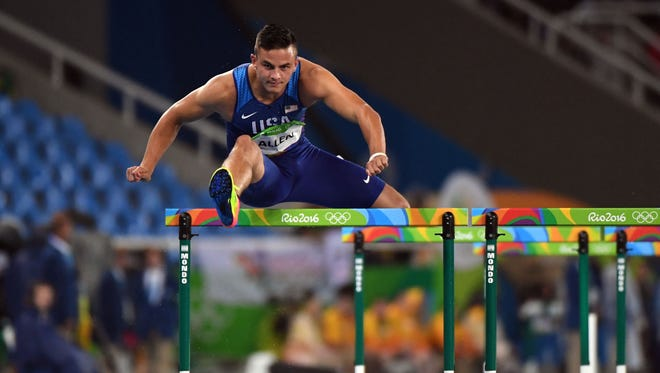 Aug 15, 2016; Rio de Janeiro, Brazil;  Devon Allen (USA) during the men's 110m hurdles round one in the Rio 2016 Summer Olympic Games at Estadio Olimpico Joao Havelange. Mandatory Credit: James Lang-USA TODAY Sports