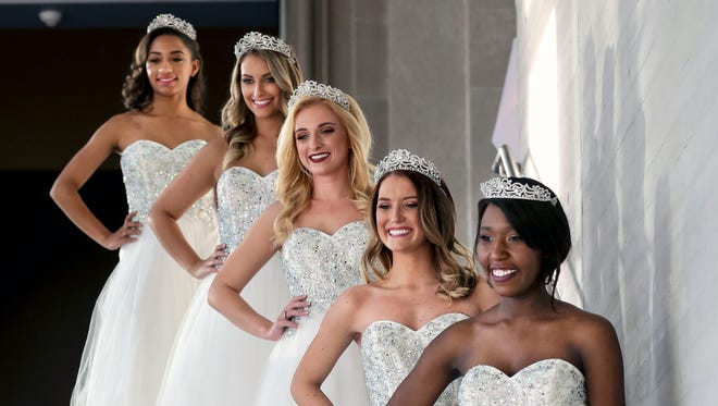 The 2017 Kentucky Derby Festival Royal Court visits the Speed Art Museum for their first photo shoot. The princesses from left to right are Daphne Woolridge, Natalie Brown, Sidney Cobb, Kailee Barnes and Taylor Marchelle Young.  