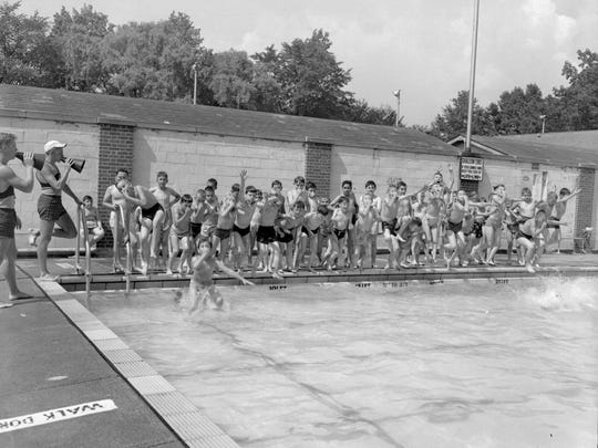 A group of children prepare to get into the Seneca Park pool in this circa 1950s photo.
