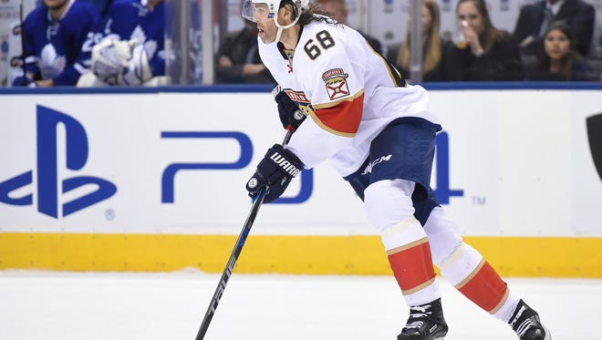 Florida Panthers forward Jaromir Jagr (68) skates with the puck during the third period of a 3-2 loss to Toronto Maple Leafs at Air Canada Centre on March 28, 2017, in Toronto.