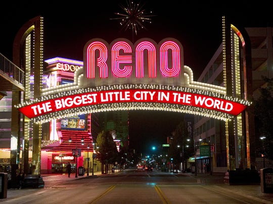 The Reno Arch on Virginia Street is the iconic symbol of the Arch District in downtown Reno, Nev.