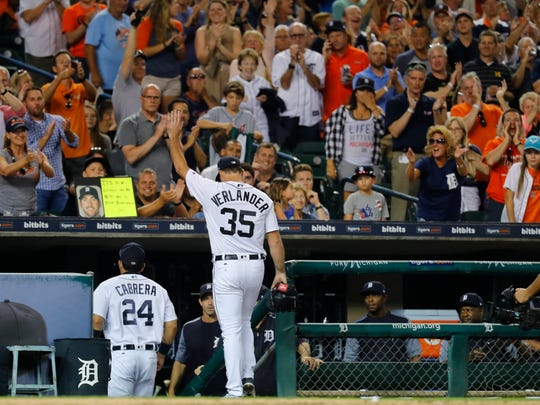 Justin Verlander waves to the crowd after the final out in the top of the eighth inning against the Pirates at Comerica Park, Wednesday, Aug. 9, 2017. Verlander threw eight innings of one-hit ball in the Tigers' 10-0 win.