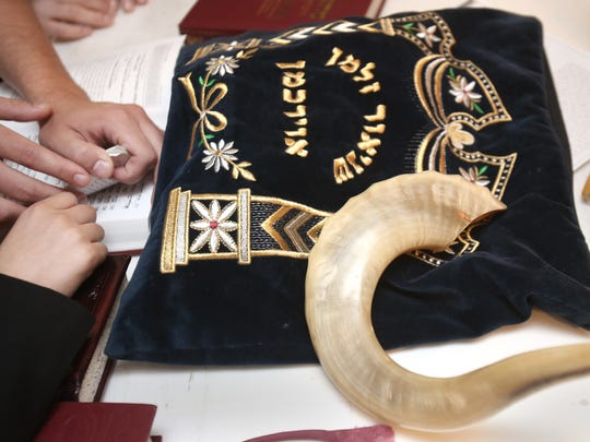 The rams horn and other Jewish symbols used to mark