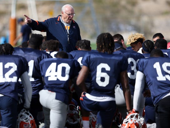 UTEP interim head coach Mike Price talks to the team