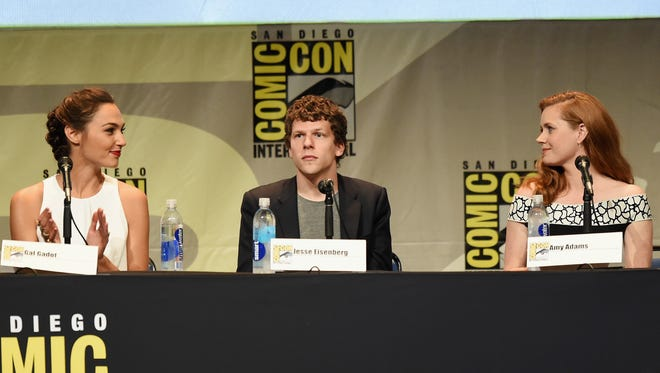 Gal Gadot, Jesse Eisenberg and Amy Adams from 'Batman v. Superman: Dawn of Justice' attend the Warner Bros. presentation during Comic-Con International 2015 at the San Diego Convention Center on July 11, 2015 in San Diego, California.