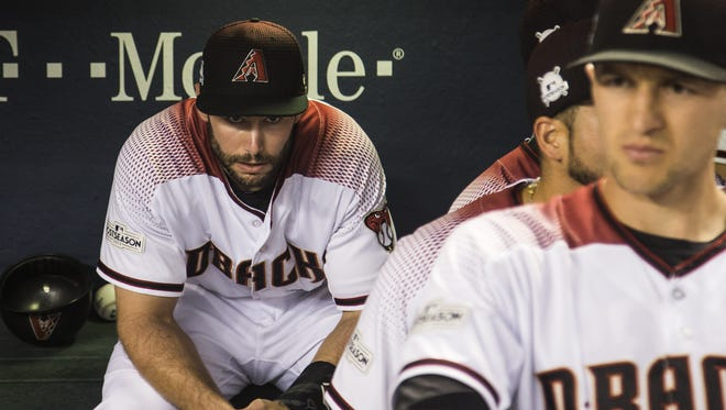 Diamondbacks Paul Goldschmidt (44) takes a moment to himself before Game 3 of the NLDS against the Dodgers at Chase Field on October 9, 2017.