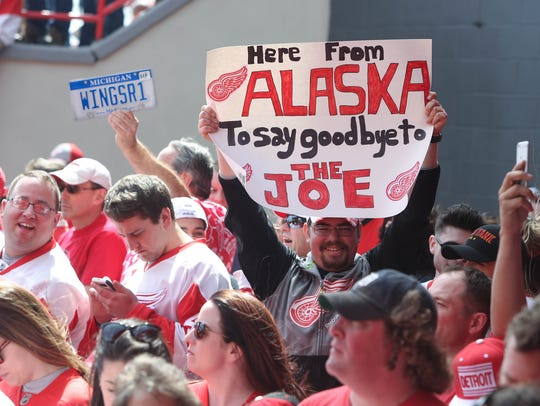 Detroit Red Wings fans lined a red carpet to watch