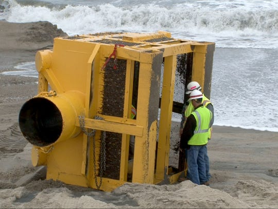 The screen is cleared during beach replenishment at