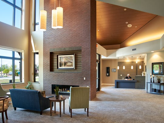 The lobby of a Laurel Grove secure memory care neighborhood building on the Shady Lane campus in Manitowoc.