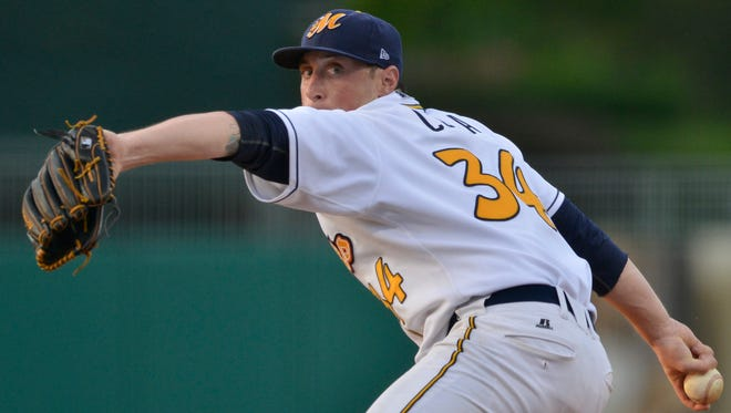 Montgomery Biscuits' Michael Colla (34) pitches during their game with Mississippi Braves at Riverwalk Stadium on Wednesday, June 4, 2014.