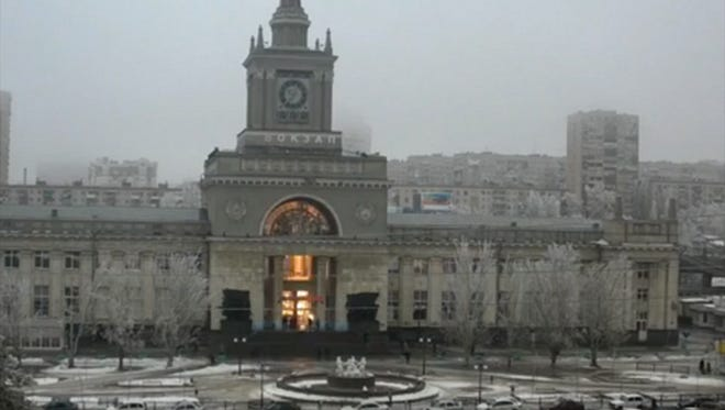 An explosion hits the Volgograd railway station  Sunday.
