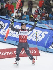 Tessa Worley of France celebrates after winning the women''s FIS Alpine Skiing World Cup giant slalom race Saturday in Killington.