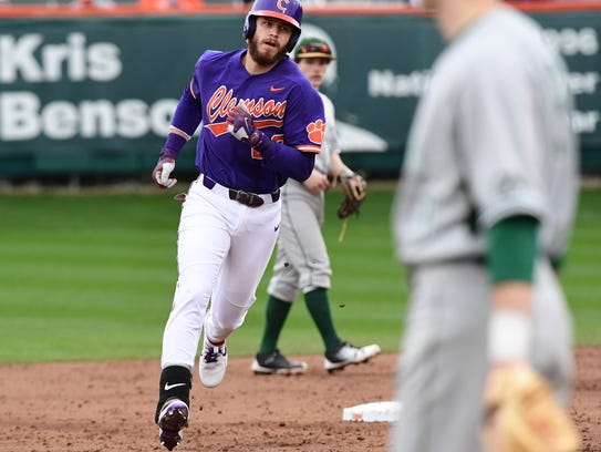 Clemson junior first baseman Seth Beer (28) hits a