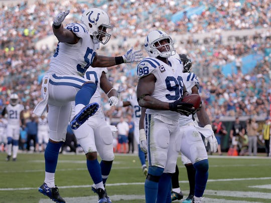 Indianapolis Colts outside linebacker Robert Mathis (98) celebrates his fumble recovery for a touchdown in the second quarter of their game at EverBank Field Sunday, December 13, 2015, afternoon  in Jacksonville FL.