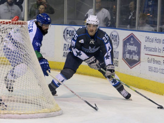 Adam Pawlick, working puck around net in game last season, will retire as a champion, the Pensacola Ice Flyers announced.