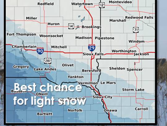 Chance for snow in the area on Friday.