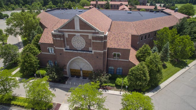 An aerial view of the Word of Faith International Christian Center in Southfield, where the state Department of Environmental Quality approved an exploratory oil well Tuesday.