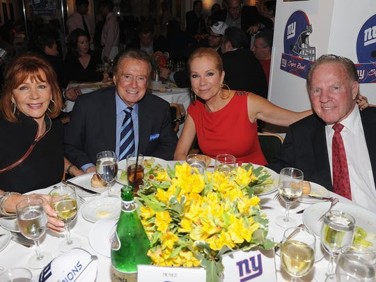 2012  February.  Joy and Regis Philbin and Kathy Lee and Frank Gifford will take part in the New York giants' Super Bowl Pep rally lunch in Michael, New York.