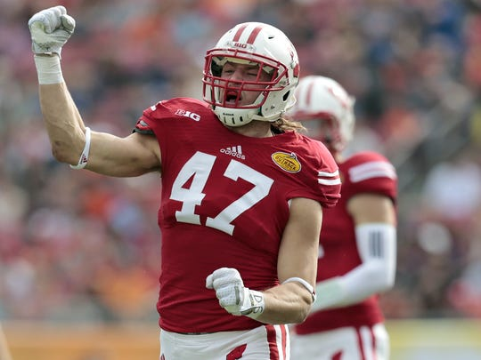 Linebacker Vince Biegel is one of the leaders of the Badgers' defense. He's started 28 of the 42 games he's played.