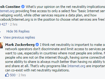 Asked by TechCrunch's Josh Constine, Mark Zuckerberg shares his thoughts on net neutrality.