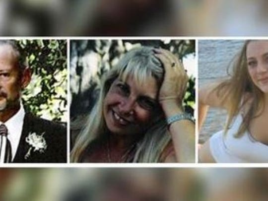 "These photos show (L-R) Jon Hayward, Vicki Friedli and Rebecca ""Becky"" Friedli. They're victims of the Sept. 17, 2006 Pinyon Pines murders."