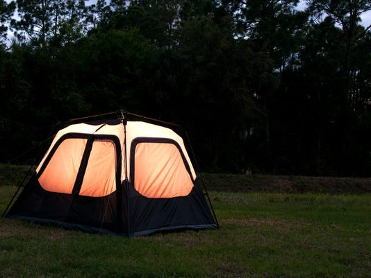 tent in backyard