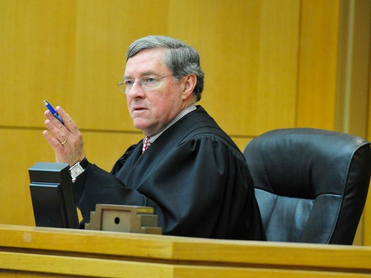 Judge Joseph Woodruff speaks in his courtroom May 5,
