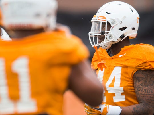 Vols defensive lineman Ryan Thaxton (44) did not see any game time as a freshman last season.