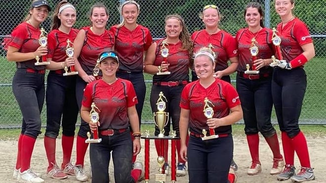 York's Abby Orso, top row, second from left, and the Southern Maine River Rats won last weekend's USA Softball Girls Junior Olympics U18 Maine state championship in Waterville.