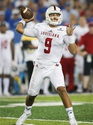 Louisiana-Lafayette quarterback Brooks Haack throws