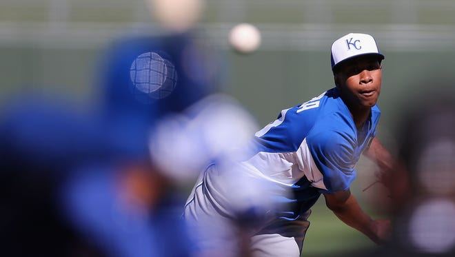 Pitcher Yordano Ventura posted an 0-1 record, with a 3.52 ERA and 11 whiffs over 15 1/3 innings with the Royals last season.