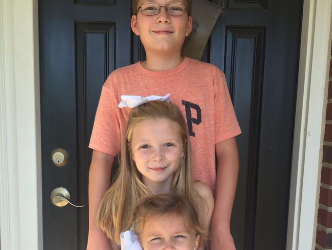 These are the Norrick children on the first day of school. From top are: Nicholas Norrick, 11, grade 6, Ockerman Middle School; Madison Norrick, 9, grade 4, Erpenbeck Elementary School; and Lilly Norrick, 5, grade 1, Erpenbeck Elementary School.