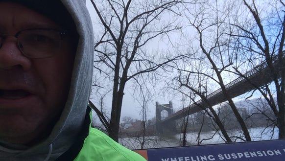The historic Wheeling Suspension Bridge in West Virginia