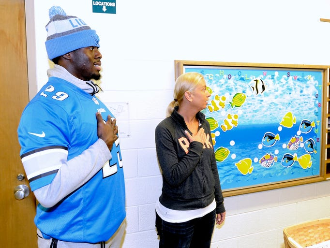 Detroit Lions cornerback Johnson Bademosi and lunch