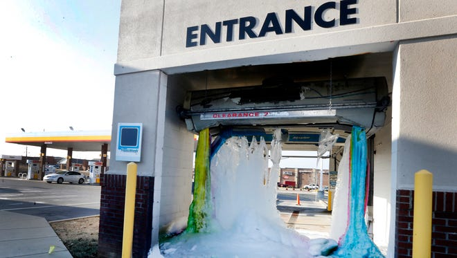 The car wash at Twice Daily at 500 Sam Ridley Parkway W, in Smyrna, was frozen on Friday, Jan. 5, 2018.