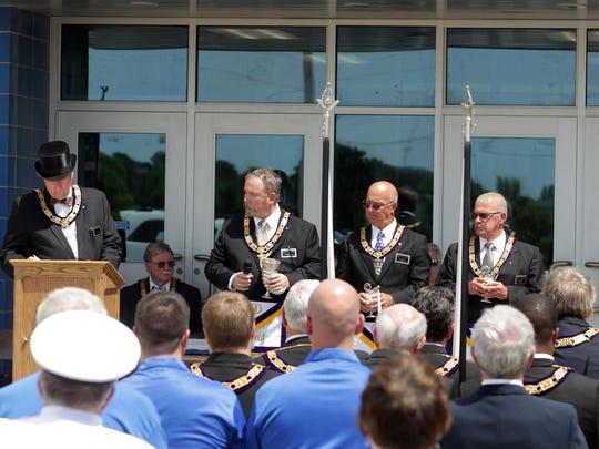 Members of the Grand Lodge of Iowa participate in a cornerstone ceremony at Tiffin Elementary on Saturday.