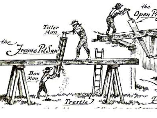 An illustration depicting the use of a pit saw, or whip saw, which was used before the sawmill got built.