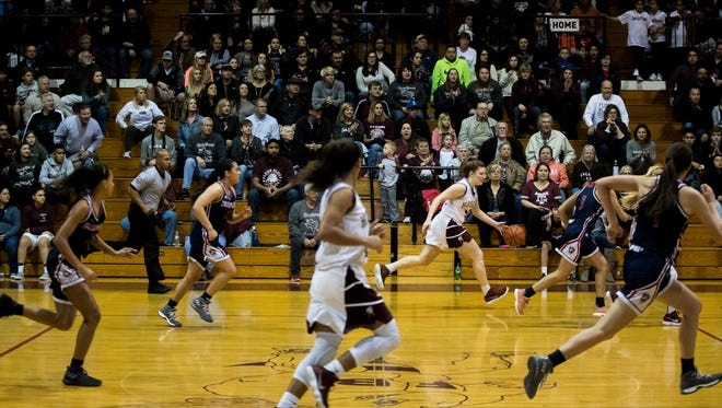 Fans watch as Flour Bluff and Veterans Memorial play their game Friday, Feb. 2, 2018 at Flour Bluff High School.