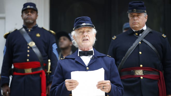 Brian Bibeau plays the role of Brigadier Gen. Edward McCook in this file photo as he recites the Emancipation Proclamation. The event will be held at 11 a.m. Sunday on the steps of the Knott House Museum.