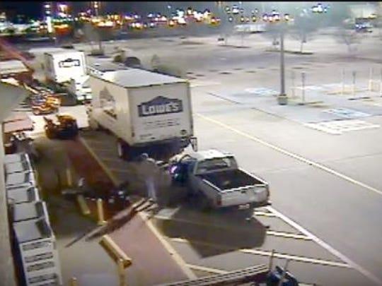 Surveillance video captured a man stealing equipment