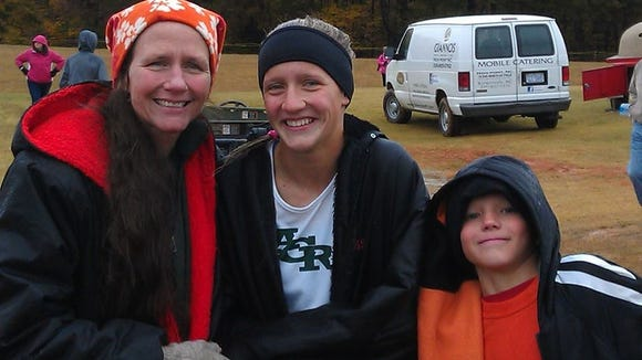 Reynolds junior Anna Vess with her mother, Christine, and brother, Jack.