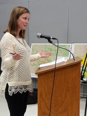 Jess Tipple address the Wausau School District's Board of Education on Feb. 25, 2016, at Horace Mann Middle School about proposed changes to elementary school boundaries.