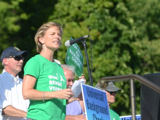 Sue Minter, the Democratic nominee for Vermont governor, wore a Gun Sense Vermont shirt at a rally for universal background checks on gun sales Aug. 4, 2016 at the Statehouse in Montpelier. Two days later the Gun Sense Vermont Victory Fund gave $1,000 to Minter's campaign.